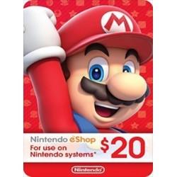 Tarjeta Prepago Nintendo eShop US$20